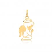 Pingente de Ouro Feminino Anjo Anjinho Vazado Ouro 18k