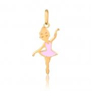 Pingente de Ouro Feminino Bailarina Esmaltada Ouro 18k