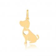 Pingente de Ouro Feminino Cachorro com Coração Dog Ouro 18k
