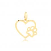 Pingente de Ouro Feminino Coração com Patinha Pet Ouro 18k