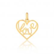 Pingente de Ouro Feminino Coração Escrita Love Ouro 18k