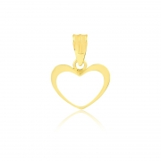 Pingente de Ouro Feminino Coração Vazado Ouro 18k
