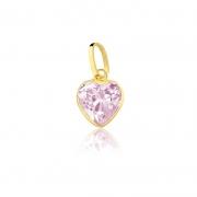 Pingente de Ouro Feminino Coração Zircônia Rosa Ouro 18k