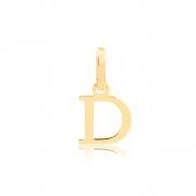 Pingente de Ouro Feminino Letra D Presente em Ouro 18k