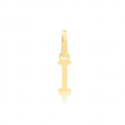 Pingente de Ouro Feminino Letra I Presente em Ouro 18k