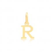 Pingente de Ouro Feminino Letra R Presente em Ouro 18k