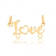 Pingente de Ouro Feminino Love 2 Argolas Pingente Canga