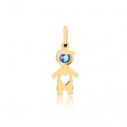 Pingente de Ouro Feminino Menino Zircônia Azul Ouro 18k