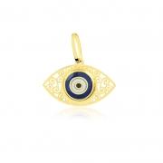 Pingente de Ouro Feminino Olho Grego Detalhado e Esmaltado