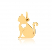Pingente de Ouro Gato Coração Vazado Ouro 18k