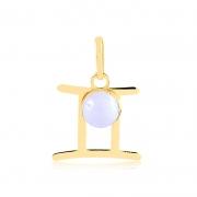 Pingente de Ouro Gêmeos Símbolo do Signo com Ágata branca