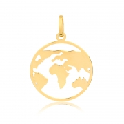 Pingente de Ouro Masculino e Feminino Mapa Mundi em Ouro 18k