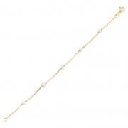 Pulseira de Ouro Feminina Pérolas de 4,5 mm Ouro 18k