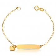 Pulseira de Ouro Infantil Cartier Placa e Coração Ouro 18k