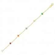 Pulseira de Ouro Infantil Cartier Zircônias Colorida 18k