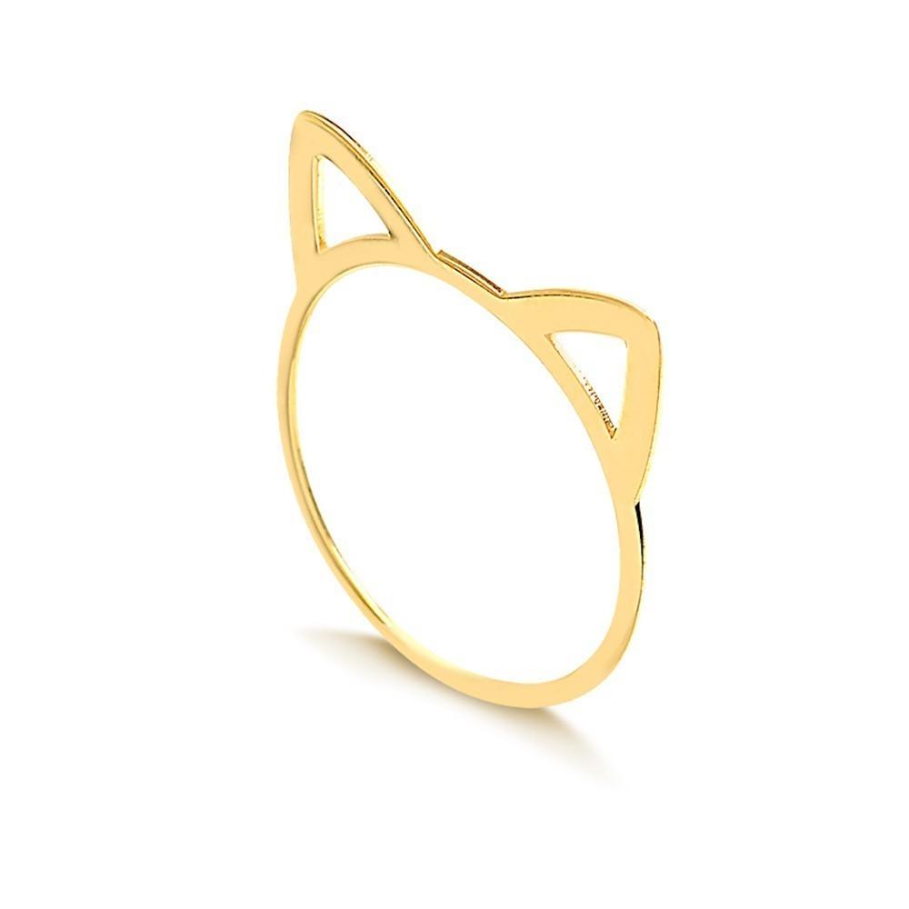 Anel de Ouro Feminino Gato Orelhas Gatinho Ouro 18k