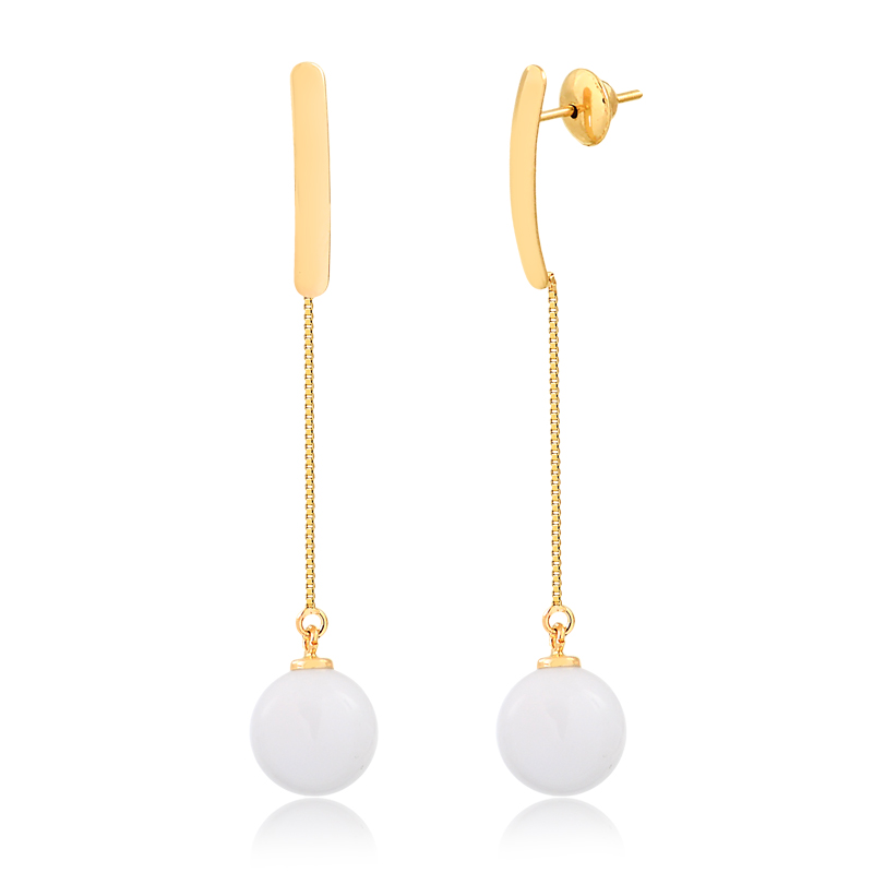 Brinco de Ouro Feminino Ágata Branca Pendurada em Ouro 18k