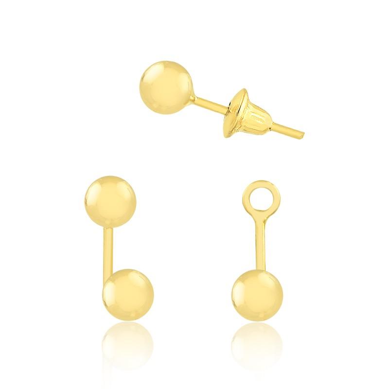 Brinco de Ouro Feminino Bolinha Dupla 5 mm Encaixe Ouro 18k