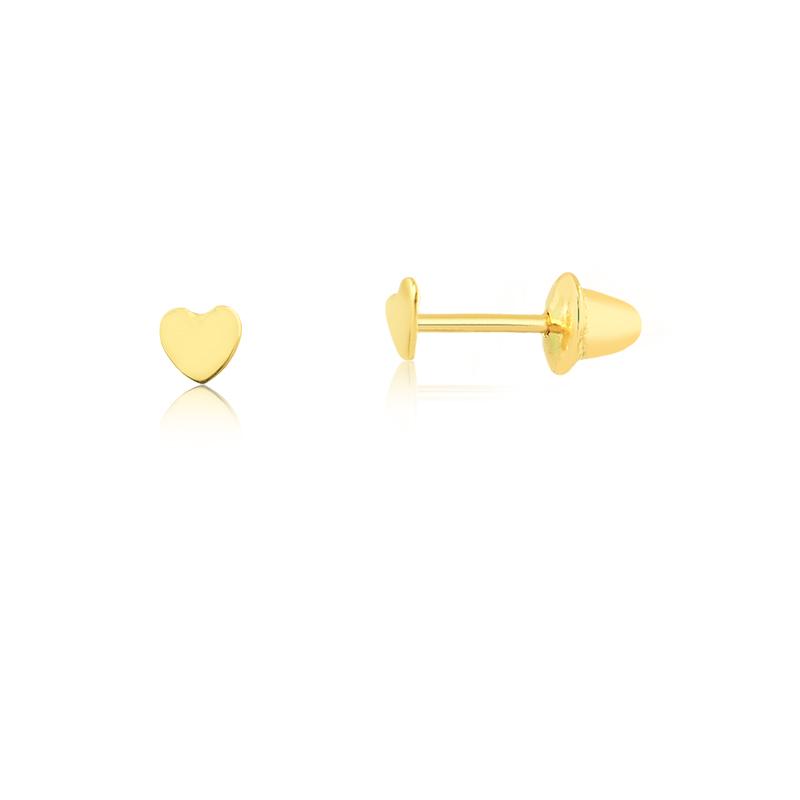Brinco de Ouro Feminino Coração Brinco Infantil Ouro 18k