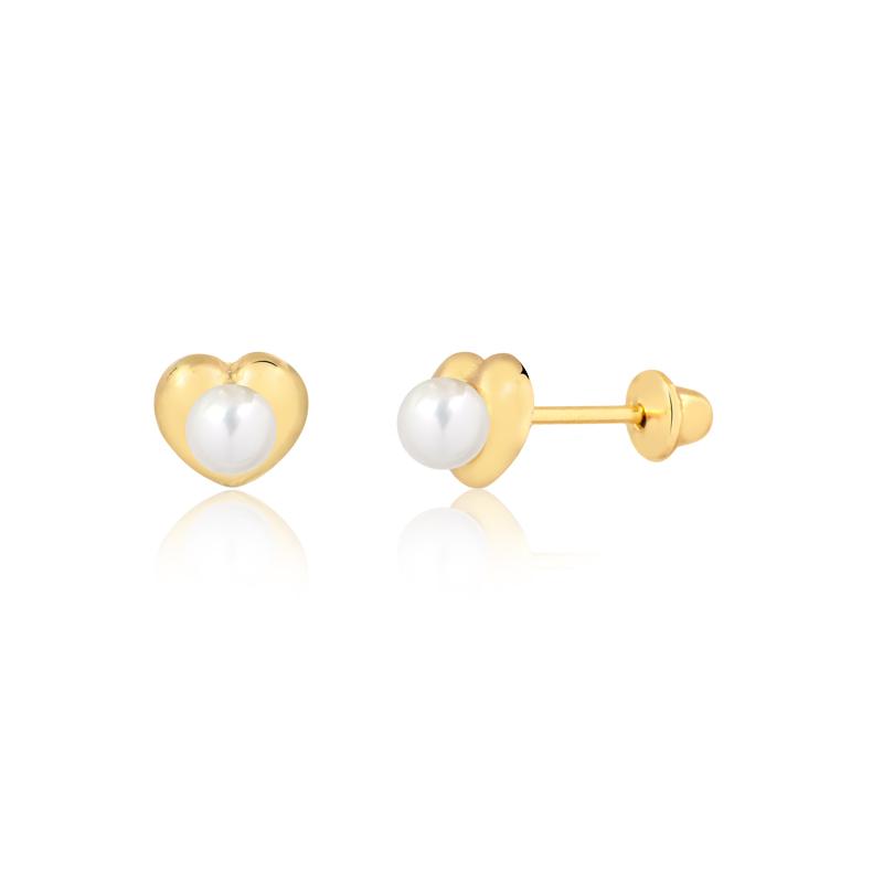 Brinco de Ouro Feminino Coração com Pérola Ouro 18k