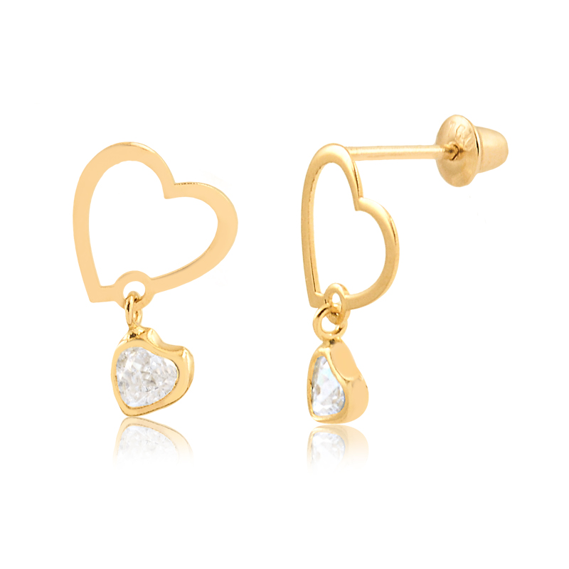Brinco de Ouro Feminino Coração com Zircônia Coração Ouro 18k