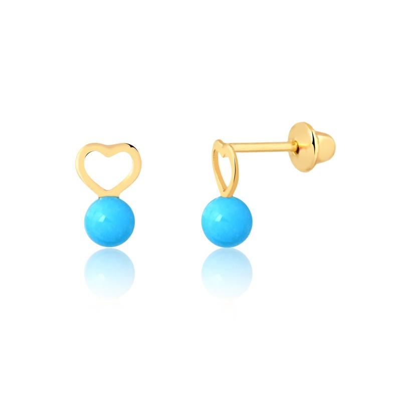 Brinco de Ouro Feminino Coração e Pedra Natural Turquesa 18k