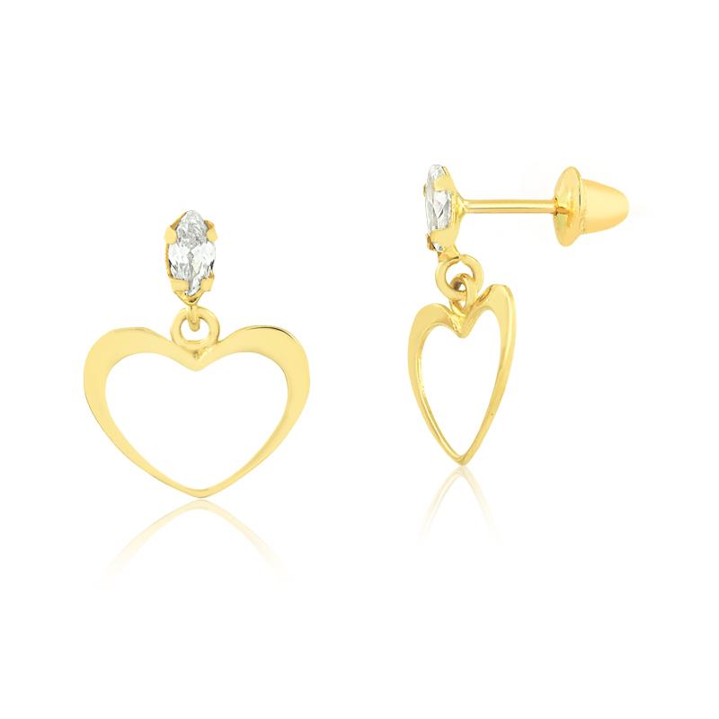 Brinco de Ouro Feminino Coração e Zircônia Branca Ouro 18k