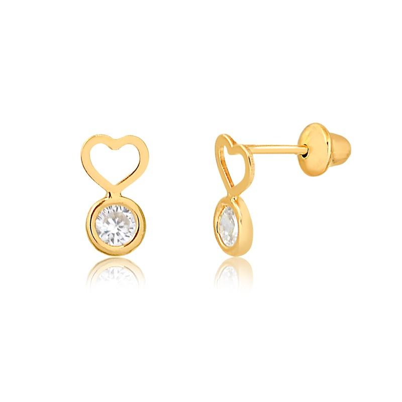Brinco de Ouro Feminino Coração e Zircônia Ouro 18k