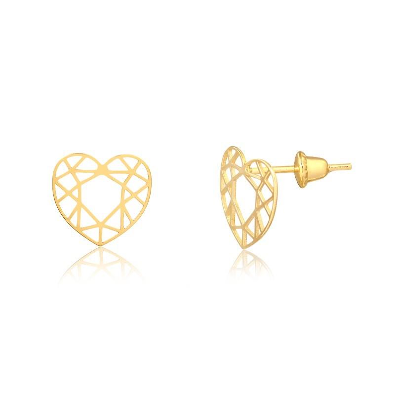 Brinco de Ouro Feminino Coração Lapidado Geométrico Ouro 18k