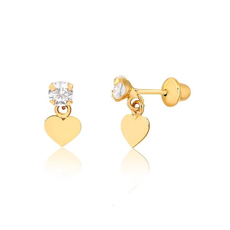 Brinco de Ouro Feminino Coração Pendurado Zircônia Ouro 18k