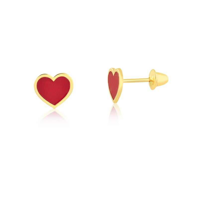 Brinco de Ouro Feminino Coração Vermelho Esmaltado Ouro 18k