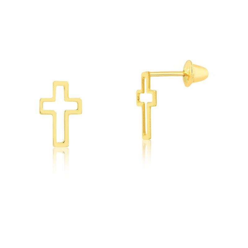 Brinco de Ouro Feminino Cruz Vazada em Ouro 18k