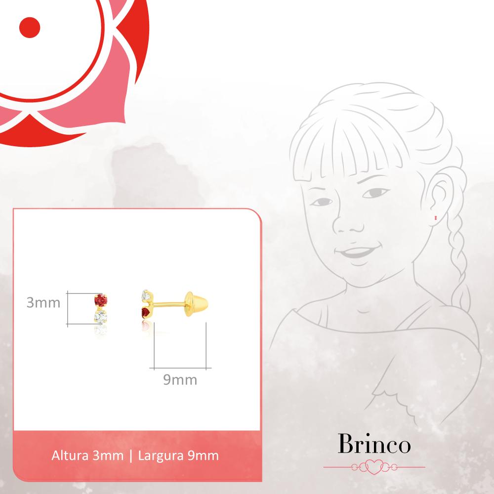 Brinco de Ouro Feminino Duas Zircônias 1,75 mm