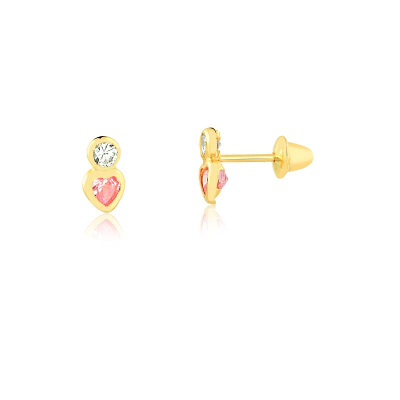 Brinco de Ouro Feminino Duas Zircônias Coração Rosa Ouro 18k