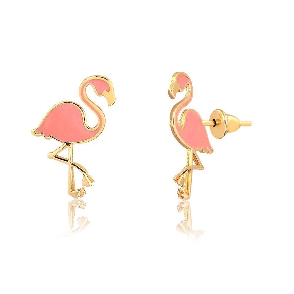 Brinco de Ouro Feminino Esmaltado Flamingo Ouro 18k