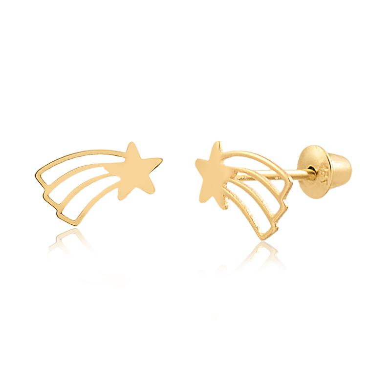 Brinco de Ouro Feminino Estrela Cadente Ouro 18k