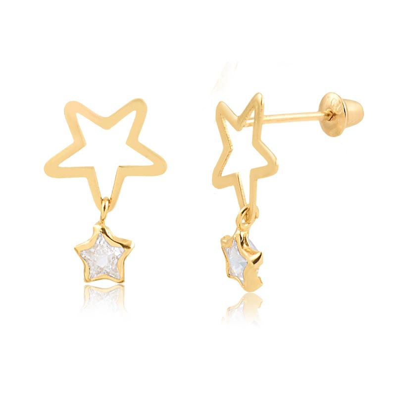 Brinco de Ouro Feminino Estrela com Zircônia Estelar 18k