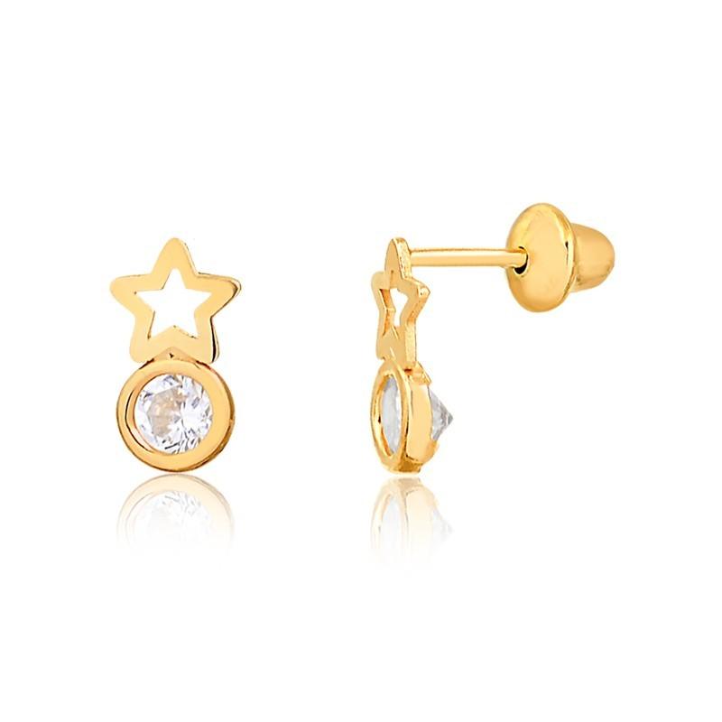Brinco de Ouro Feminino Estrela e Zircônia Ouro 18k