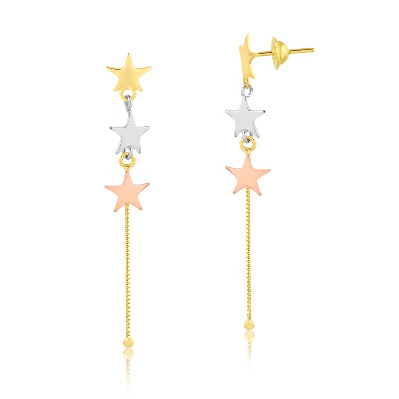 Brinco de Ouro Feminino Estrelas em Ouro Branco e Rosé 18k