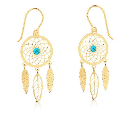 Brinco de Ouro Feminino Filtro dos Sonhos Azul Ouro 18k