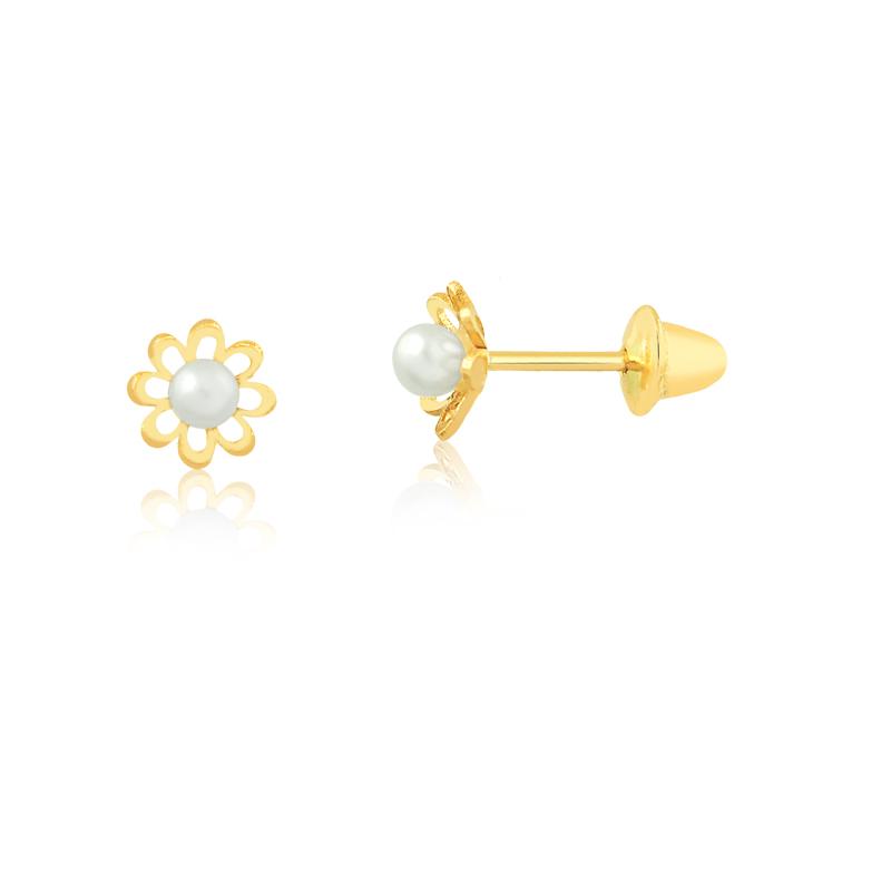 Brinco de Ouro Feminino Flor com Pérola 2 mm Ouro 18k