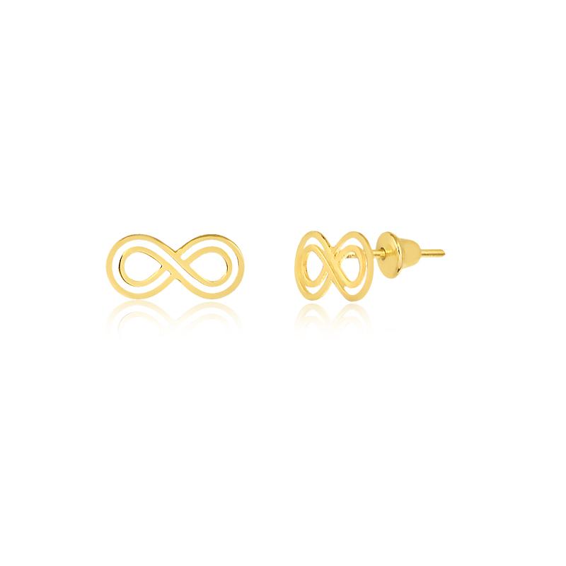 Brinco de Ouro Feminino Infinito Vazado em Ouro 18k
