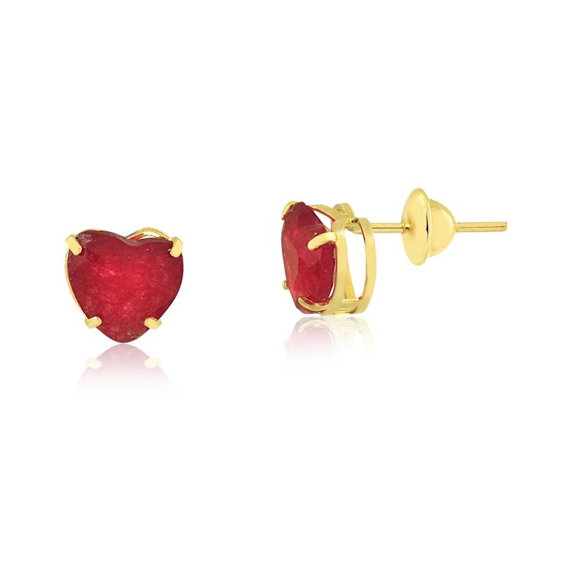 Brinco de Ouro Feminino Jade Coração Vermelho Natural