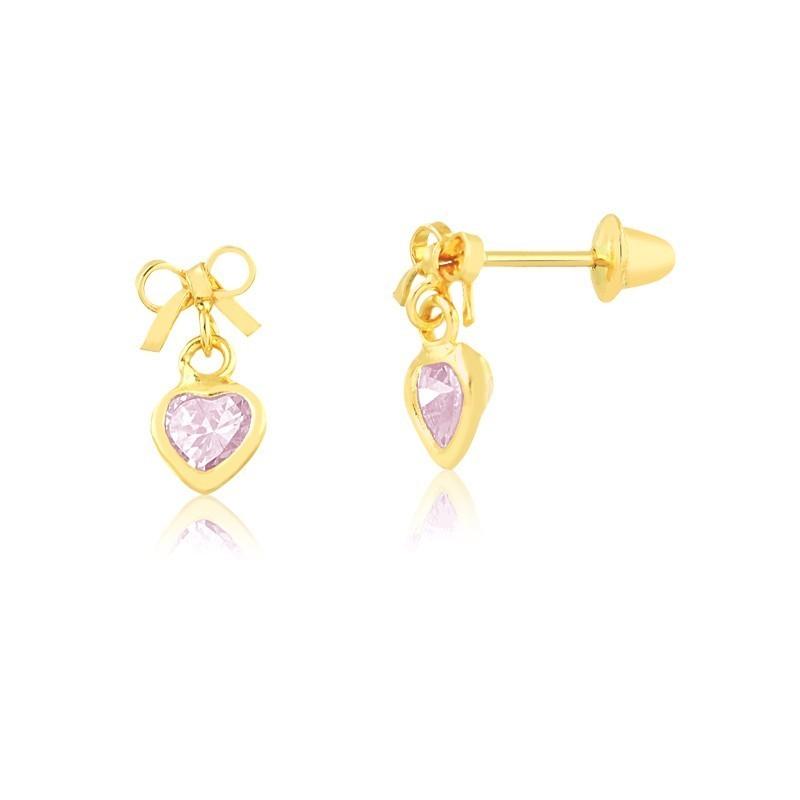 Brinco de Ouro Feminino Lacinho e Coração Zircônia Rosa