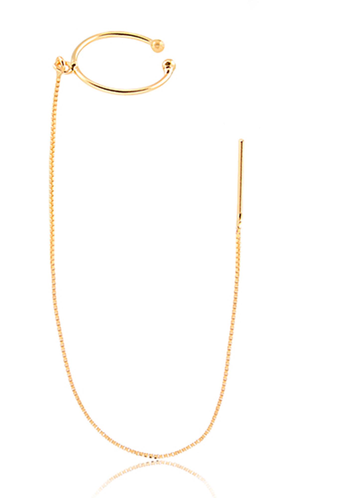 Brinco de Ouro Feminino Meio Par Brinco Piercing em Ouro 18k