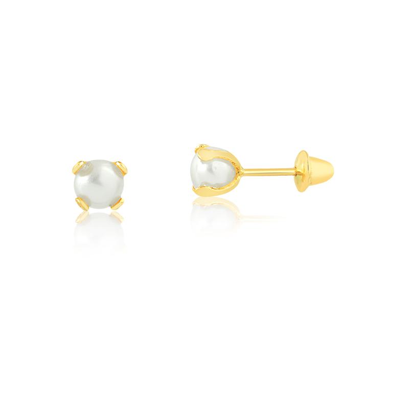 Brinco de Ouro Feminino Pérola Cálice Ouro 18k