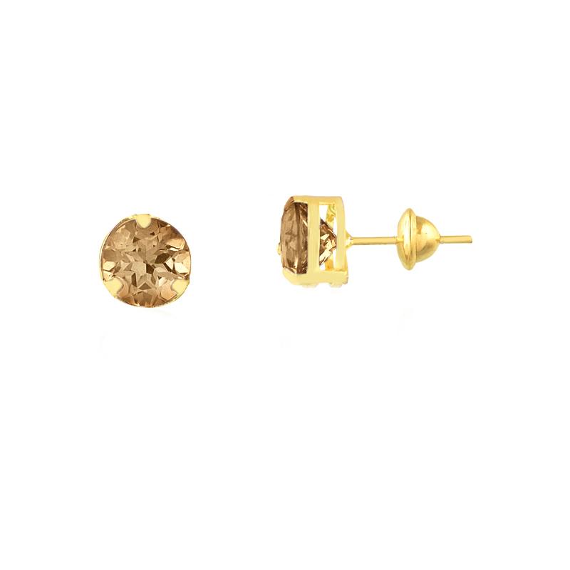 Brinco de Ouro Feminino Quartzo Fumê Pedra Natural Ouro 18k