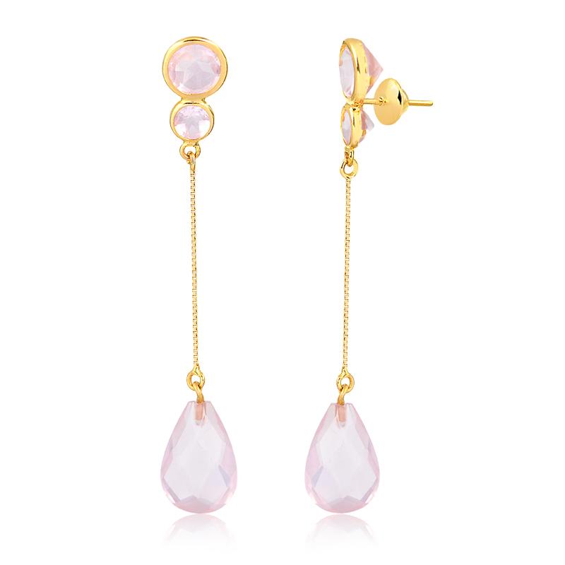 Brinco de Ouro Feminino Quartzo Rosa e Veneziana Ouro 18k