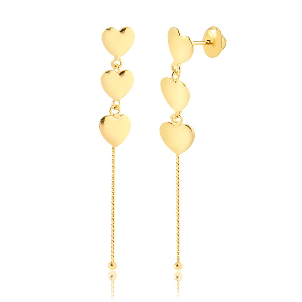 Brinco de Ouro Feminino Três Corações com Corrente Veneziana Ouro 18k