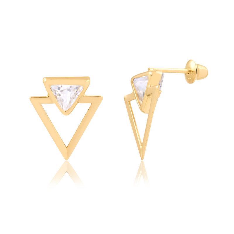 Brinco de Ouro Feminino Triângulo com Zircônia Triangular